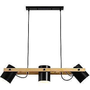 OUKANING - Lampadario a sospensione in legno, 3 luci, stile vintage, design industriale, ideale per il tavolo da pranzo… 31nZHU1c1wL. SS300