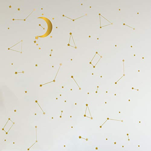 Melissalove 190 Gold Star Constellation with Big Moon Wall Decal Kids Bedroom Removable Decoration Outer Space Nursery Sticekrs Zodiac Astronomy Art Mural Decor ZB162 (Gold)