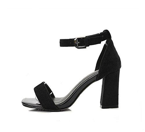 MerMer Sandalias Negro De Tacón Alto Ancho De Moda Una Tira
