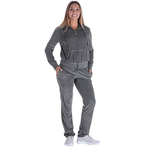 (Black Grey Womens Velvet Zip Hooded Sweatshirt Athletic Soft Plus Size Hooded and Sweat Pants Tracksuit Set (L, Grey))