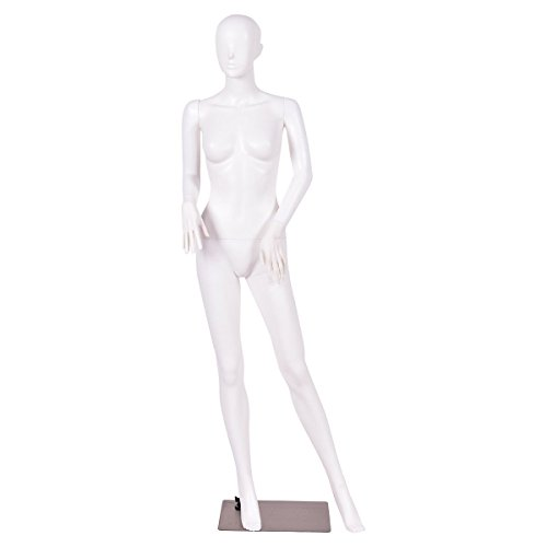 (Giantex Female Mannequin Dress Form Display Manikin Torso Stand Realistic Metal Stand Plastic Detachable Clothing Full Body Mannequin W/Base White 5.8 FT (White Style 1))