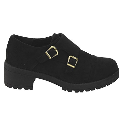 Buckle Perforated Ej61 Black Faux Heels Chunky With Oxford Beston Strap Womens Boots Suede Dress fY4BBaP