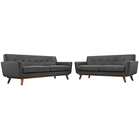 Modway Engage Mid Century Modern Upholstered Fabric Loveseat And Sofa Set In Gray