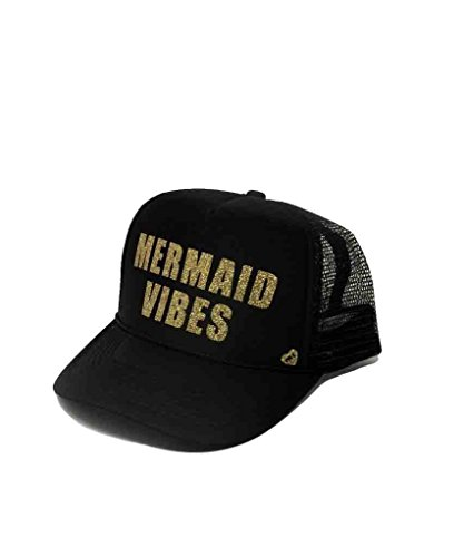 Mother Trucker Women's Mermaid Vibes Black and Gold Hat ()