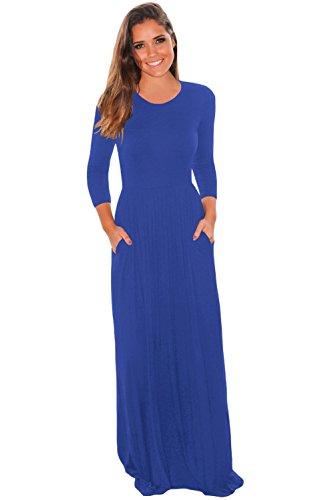 blue 3 quarter sleeve dress - 4