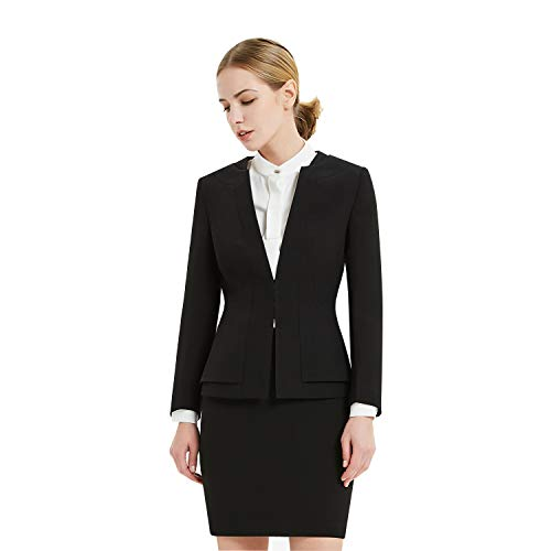 Women Business Suit Set for Office Lady Two Pieces Slim Work Blazer & Skirt (Black, 10)