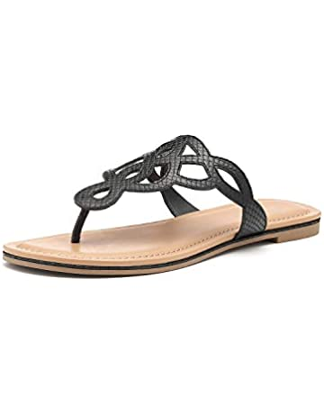 aa604b8d13767 TIHOO Women's T-Strap Flat Thong Slip On Sandals Dress Or Casual Flip Flops