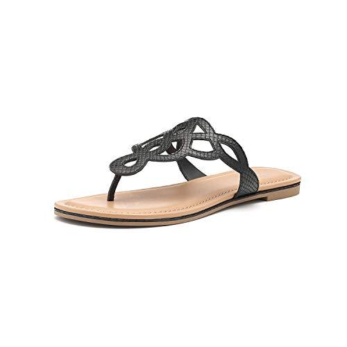 Women's T-Strap Flat Thong Slip On Sandals Dress Or Casual Flip Flops (9, Black)