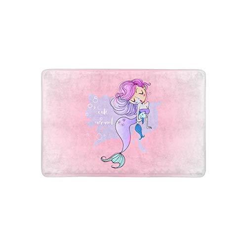 INTERESTPRINT Cute Cartoon Mermaid with Fish Smiling Glamour Beauty Doormat Indoor Outdoor Entrance Rug Floor Mats Door Mat Non-Slip Home Decor, Rubber Backing 23.6