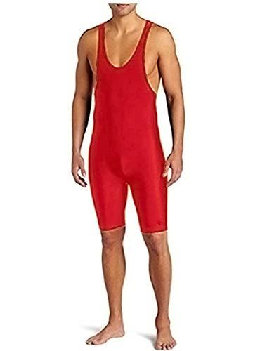 (CHICTRY Men's Solid Standard Modified Wrestling Singlet Bodysuit Boyshorts Underwear Leotard Outdoors Red Large)