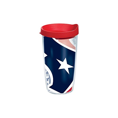 Tervis NFL Houston Texans Colossal Wrap Individual Tumbler with Red Lid, 16 oz, Clear - Houston Texans Tumbler