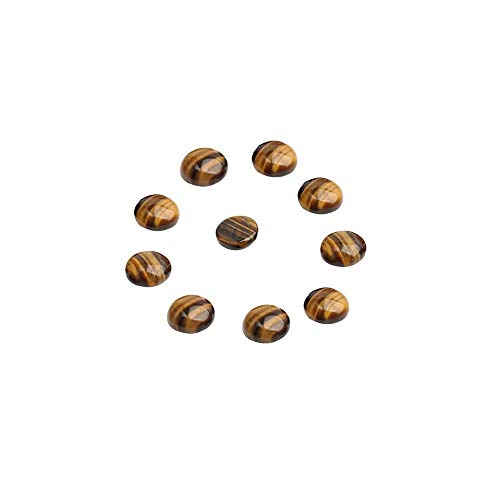 (8mm Dome Cabochons Wholesale 20 Pcs Natural Yellow Tiger Eye Gemstone Flat Back Round Cabs (No Hole))