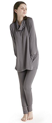 Womans Loungewear (Ink+Ivy Women Ladies Soft Cowl Neck Long Sleeves Shirt and Leggings Pajama Set Silver Grey Large)