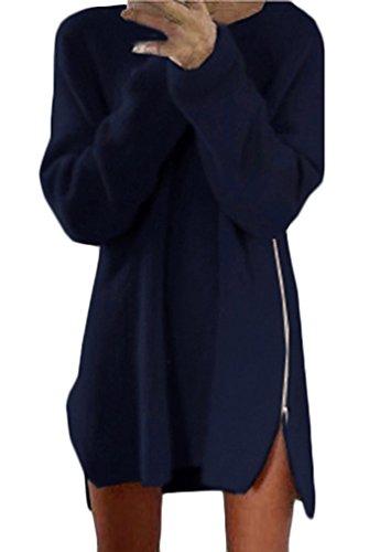 Vestiti Donna Eleganti Vestito In Maglia Ragazza Corti Sciolto Maglioni Manica Lunga Autunno Casual Abito Mini Camicia Inverno Abiti In Cerniera Rotondo Collo Dress Vestitini