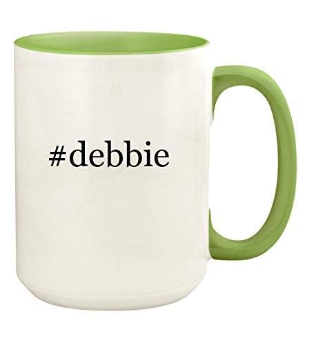 #debbie - 15oz Hashtag Ceramic Colored Handle and Inside Coffee Mug Cup, Light Green