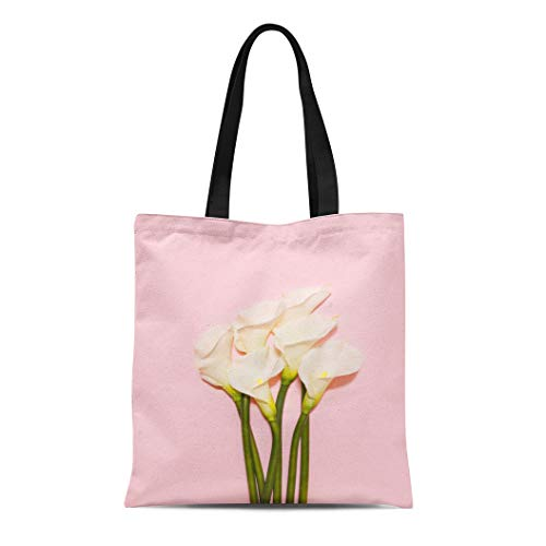 (Semtomn Canvas Tote Bag Shoulder Bags Colorful Lily White Calla Lilies Pink Top View Green Women's Handle Shoulder Tote Shopper Handbag)