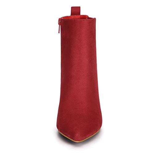 Red Ankle Zipper Women's Boots Block Heel Toe Allegra Pointed K cnWfzZzxA