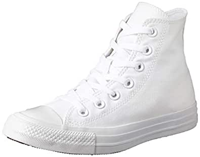 Converse, Chuck Taylor All Star High-top Sneakers, White/Silver, 5 US Men / 7 US Women