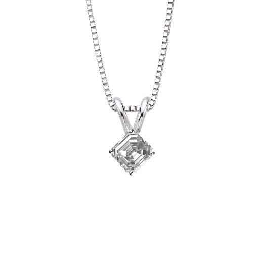 GIA Certified 0.51 ct. F - SI2 Asscher Cut Diamond Solitaire Pendant Necklace in 14K White Gold