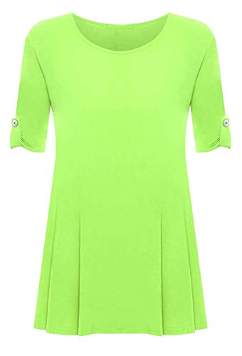 Dress Sleeves Flared Mini - Rimi Hanger Womens 3/4 Turn Up Sleeve Button Top Ladies Flared Plus Size Party Wear Mini Dress Lime Green US 24-26
