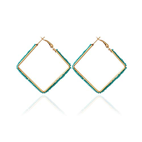 - WLLAY Bohemian Multi-Color Beaded Hoop Dangle Earrings for Women Jewelry Gold Color Big Square Drop Earring Brincos (Green)