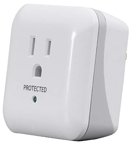 (Monoprice 68-207-7382R 1 Outlet Power Surge Protector Wall Tap with End of Service Alarm - White | ETL Rated 900 Joules with Protected Light Indicator)