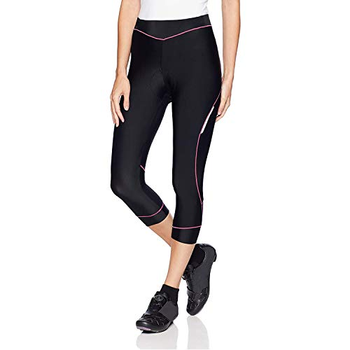 Bicycle Pants Women - 4ucycling Premium 3d Padded Breathable ¾ Cycling Tights - Maximum Comfort to the Thighs - Great for Competitive -Leisure Cycling - 100% Satisfaction Guaranteed,Black/Pink,WEIGHT:121-132Lbs HEIGHT:5
