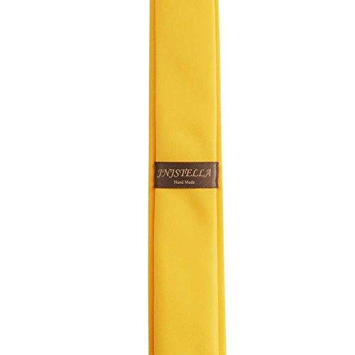 Men's Solid Skinny Tie Necktie Yellow 2