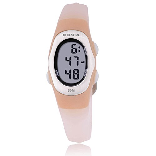 Children's multi-function digital electronic watch,Jelly 50 m waterproof resin alarm stopwatch girls or boys small simple fashion retro wristwatch-D by CDKIHDHFSHSDH