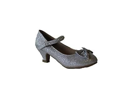 Justice 5 Little Girls Rhinestone Heeled Bow Design Platform Dress Sandals Silver 2