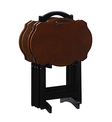 Powell Furniture Serpentine Modern Storage Tray Table, Black with Hazelnut Top, Set of 4