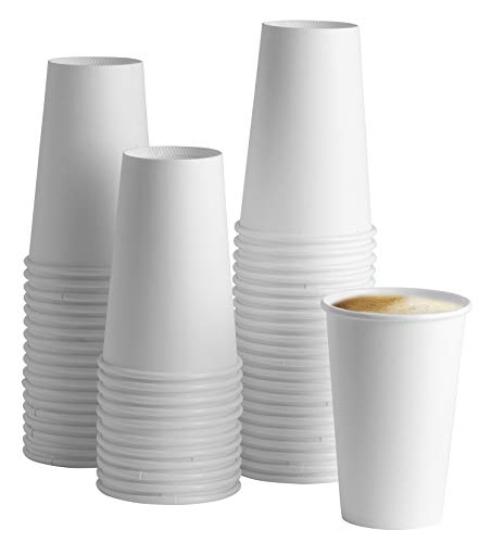 [100 Pack] 16 oz. White Paper Hot Cups - Coffee ()