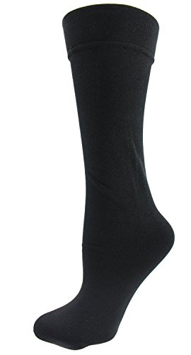 Plush Fleece Lined Knee Highs Socks for Women Plus, Queen, 1x (Black) (Stockings Plus Lined Size)
