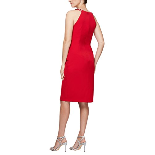 Regular Skirt Alex Petite Evenings Dress Sizes Neck with Ruched Slimming Ruffle Short Red and Halter 014Uv0