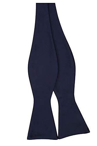 Blue Self Tie - Jacob Alexander Men's Self Tie Freestyle Solid Color Bowtie -Navy Blue