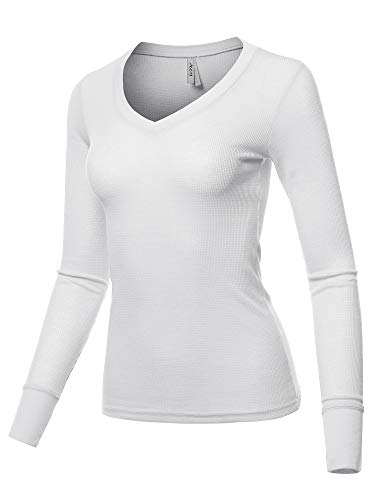 (A2Y Basic Solid Long Sleeve V Neck Fitted Thermal Top Shirt White L)