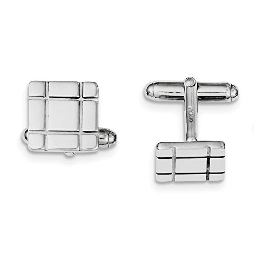 Bonyak Jewelry Sterling Silver Rhodium-Plated Grooved Design Cuff Links