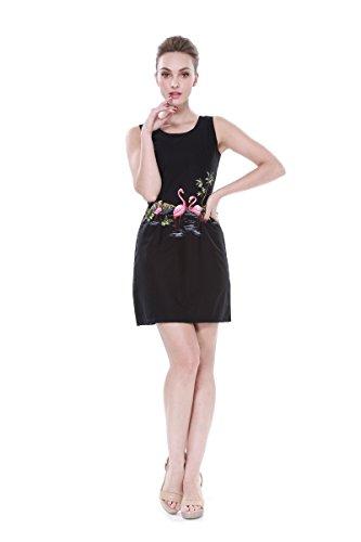 Made In Hawaii Donna hawaiana Serbatoio di Luau Vestito in Fenicotteri rosa in nero