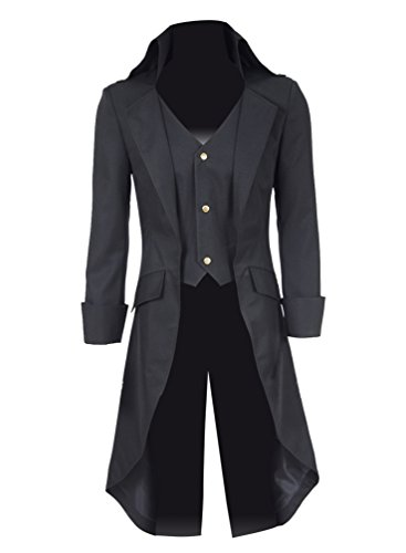 Hello-cos Mens Steampunk Black Long Trench Cosplay Costume (Man-S, Black) ()