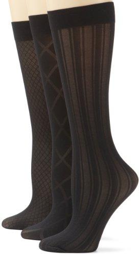 Steve Madden Legwear Women's 3 Pack Texture Trouser Socks, Black, 9-11