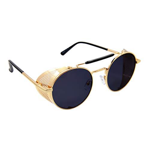 Round Shield Sunglasses - Fadchai Round Steampunk Sunglasses with Side Shields - Retro Sun Glasses for Men and Women(Black)