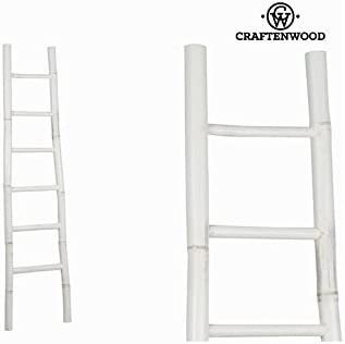 Escalera Bambú Blanco (171 x 39 x 6 cm) - Colección Franklin by Craftenwood: Amazon.es: Hogar