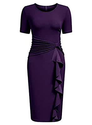 AISIZE Women's 50s Vintage Ruffle Draped Short Sleeve Bodycon Cocktail Knee Dress