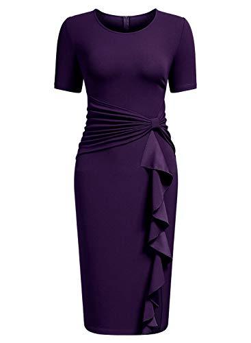 AISIZE Women's 50s Vintage Ruffle Draped Short Sleeve Bodycon Cocktail Knee Dress Purple