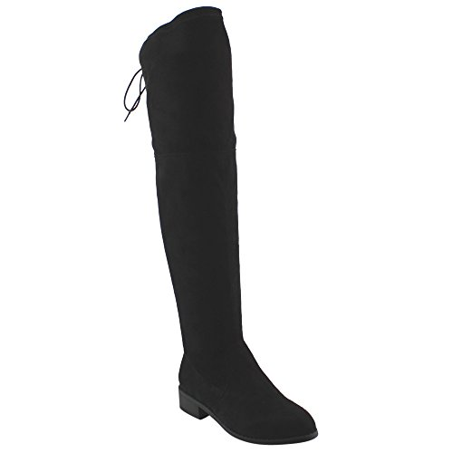Beston FD97 Women's Stretchy Over The Knee Block Heel Dress Boot Half Size Small, Color:BLACK, - Stretch Boot Tall
