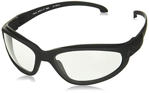 Edge Eyewear Falcon Thin Temple Glasses, Matte Black Frame/Clear Vapor Shield Lens
