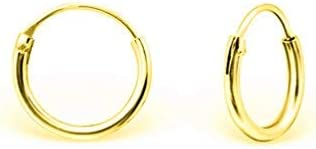Boucles doreilles FemmeMini Cr/éoles en Argent Fin 925 Diam/ètre 10 mm DTPsilver Cartilage//H/élix /Épaisseur 1.2 mm Plaqu/é Or Jaune ou Or Rose