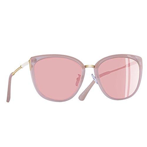 gafas Moda pequeño de C4Brown Ojo Mujer Gato metálicas patas polarizadas de UV400 TIANLIANG04 C2Pink sombras Gafas de sol 8UfqAA