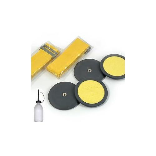 Vupiesse - Kit de 4électrodes rondes en caoutchouc avec éponge cellulose pour électro stimulateur - 7,5 cm - Boutons-pression de 4mm et bandes élastiques