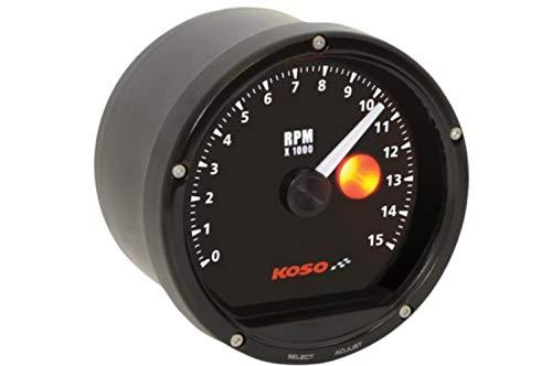 Koso BA035150 Black Face/Black Casing TNT-01R Tachometer with Shift Light (15 000 RPM)